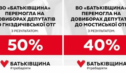 «Батьківщина» – серед лідерів на довиборах до рад ОТГ на Львівщині